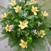 Wiązanka z żywych kwiatów w gąbce florystycznej; wielkość: średnia; storczyk złoty (Cymbidium), podkład jodłowy, zieleń dekoracyjna.