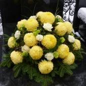 Kompozycja sezonowa z kwiatów żywych w misie; wielkość: bardzo duża (ok. 80 cm średnicy);  chryzantemy Creamist Lemon, róża kremowa Avalanche, chryzantema gałązkowa Santini, podkład jodłowy, zieleń dekoracyjna.